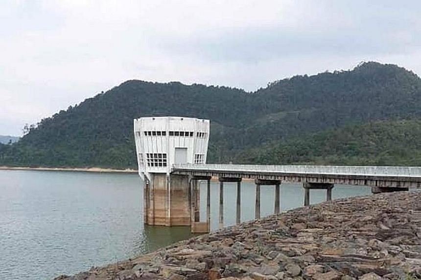 The Linggiu Reservoir in Johor yesterday. Its water level last dipped below 50 per cent in 2015 to reach a historic low of 20 per cent in 2016.
