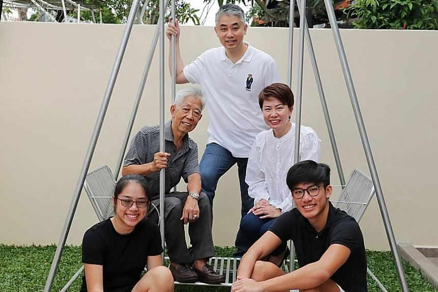 Mr Ronald Tan with his father Tan Siak Sin, 73, wife Janice, daughter Amber and son Abel in their Kovan home. Mr Ronald Tan believes it is good to have a mix of long-term, medium-term and short-term investments, and his diversification is objective-b
