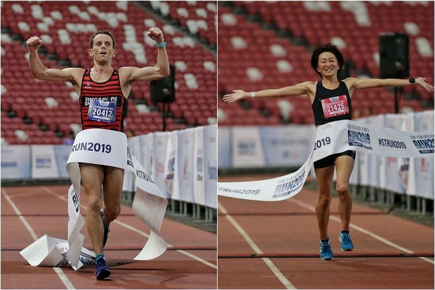 Nick Impey (left) won the men's 18.45km race and Maki Inami, the winner of last year's ST Run, won the women's event.