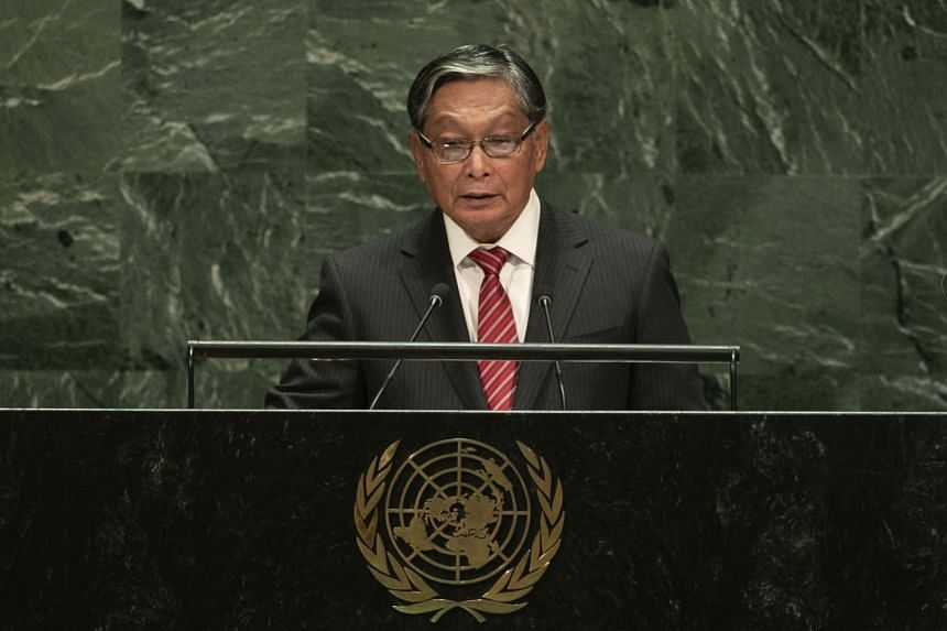 Kyaw Tint Swe, Myanmar's minister for the office of the state counsellor addresses the UN General Assembly at the UN headquarters on Sept 28, 2019.