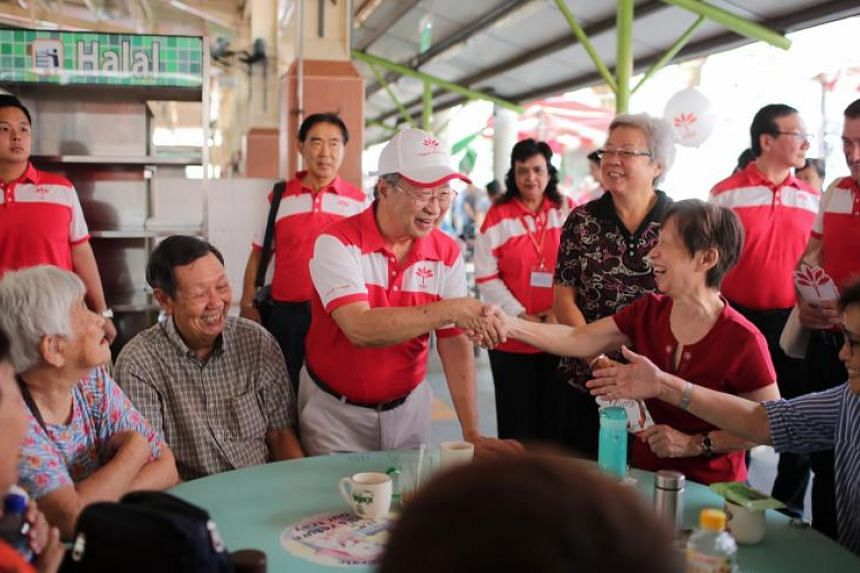 Progress Singapore Party secretary-general Tan Cheng Bock interacts with members of the public at Ghim Moh Market and Food Centre on Sept 29, 2019.