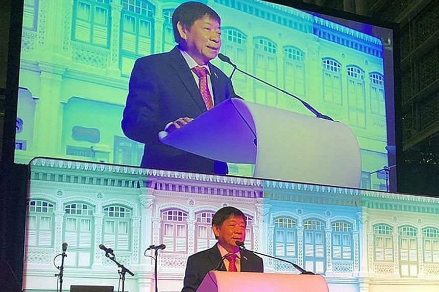 Transport Minister Khaw Boon Wan speaking at a reception Singapore hosted at the ICAO assembly in Montreal on Friday.