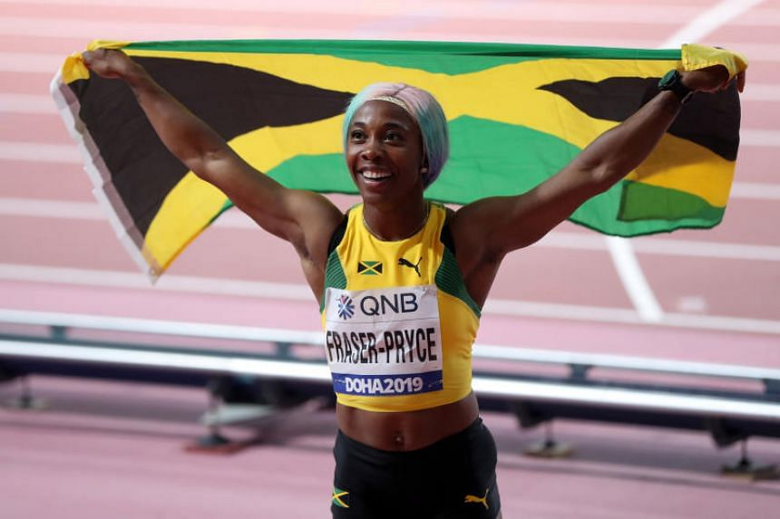 Image result for shelly ann fraser pryce win at doha