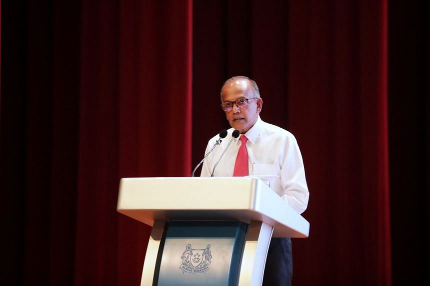 Home Affairs and Law Minister K. Shanmugam speaking at the Minister's Awards Presentation Ceremony at ITE College West on Sept 30, 2019.