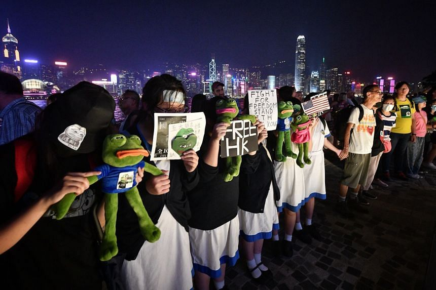 Protesters at the Avenue of Stars along Hong Kong's Victoria Harbour on Sept 30, 2019. They intend to form a human chain to Prince Edward MTR station in northern Kowloon.