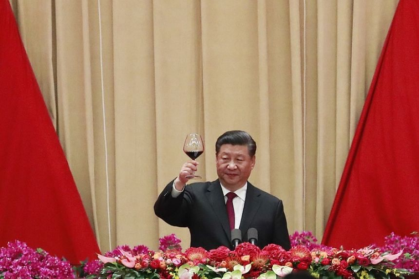 Chinese President Xi Jinping during a National Day reception in Beijing on Sept 30, 2019.