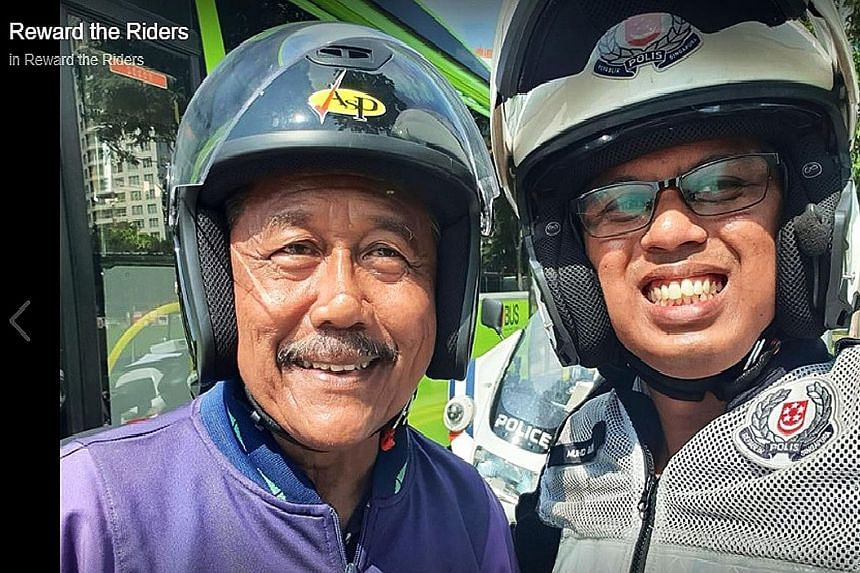 Veteran Malay comedian Yusof Maruwi in good spirits after learning that he was pulled over for displaying good riding behaviour and wearing protective gear.