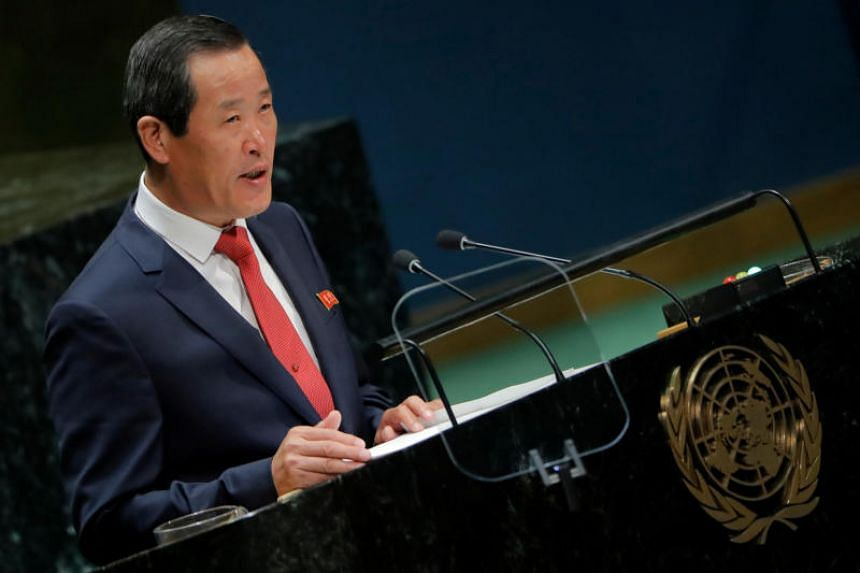 North Korean ambassador to the United Nations Kim Song addresses the 74th session of the United Nations General Assembly at UN headquarters in New York on Sept 30, 2019.
