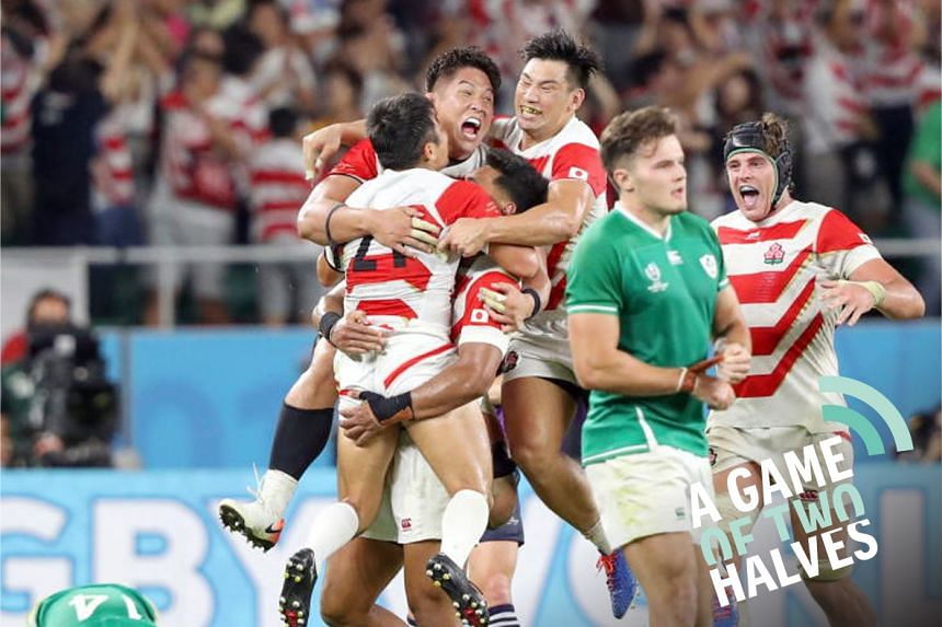 Japan's players celebrate after winning the Rugby World Cup match between Japan and Ireland at Shizuoka Stadium Ecopa in Fukuroi, Shizuoka prefecture, Japan, 28 September 2019.
