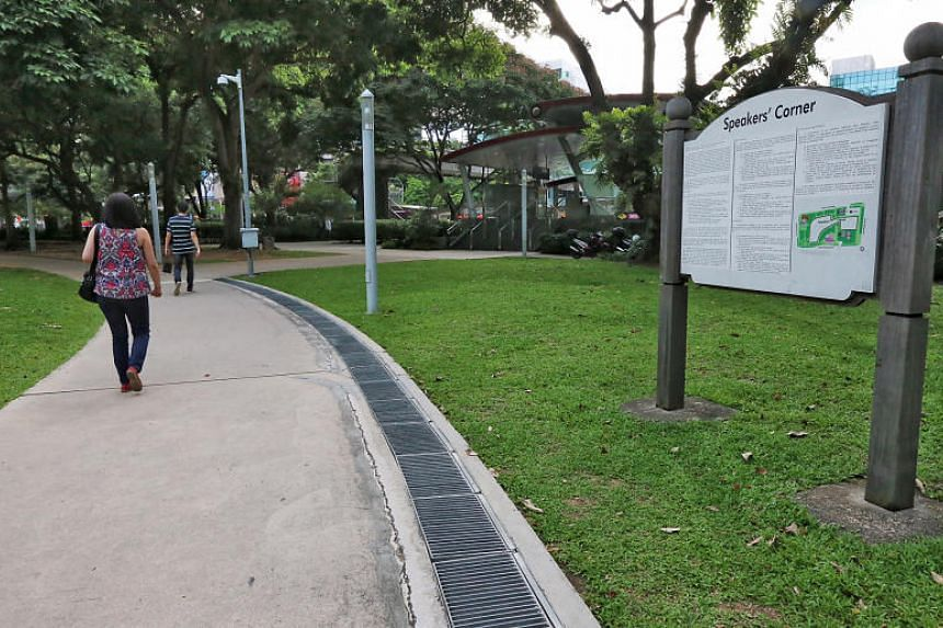 The Speakers' Corner in Hong Lim Park. A man has been fined for purposely leaving a bag with an attached toy grenade near Hong Lim Park in 2017.