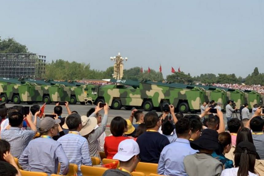 DF-17 hypersonic ballistic missiles on display during the military parade on Tiananmen Square.