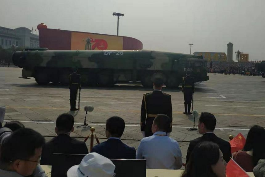 DF-26 missiles, informally known as the Guam killer, on display during the military parade.