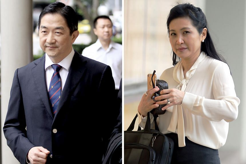 John Soh Chee Wen and Quah Su-Ling, on trial over the alleged manipulation of three penny stocks, outside the court in 2016 and last year, respectively. The long-running trial resumed yesterday with prosecution witness Tai Chee Ming testifying that a