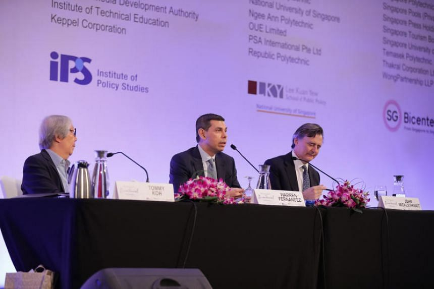 (From left) Professor Tommy Koh, Straits Times editor Warren Fernandez and Bloomberg News editor-in-chief John Micklethwait during a dialogue at the Singapore Bicentennial Conference on Oct 1, 2019.
