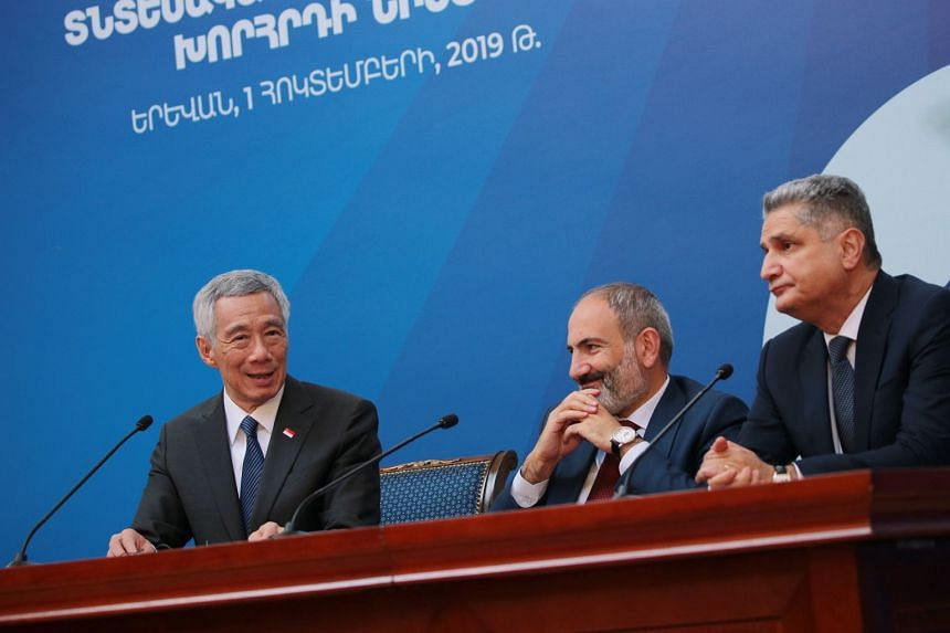 Prime Minister Lee Hsien Loong; Armenia Prome Minister Nikol Pashinyan; and Eurasian Economic Commission Board Chairman Tigran Sargsyan, attend a joint press conference at the Governmental Residence in Yerevan, Armenia, on Oct 1, 2019.