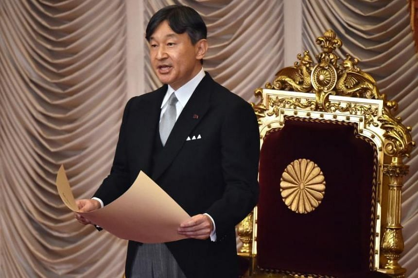 Japan's Emperor Naruhito delivers a speech at the Diet building in Tokyo, Japan, on Aug 1, 2019.