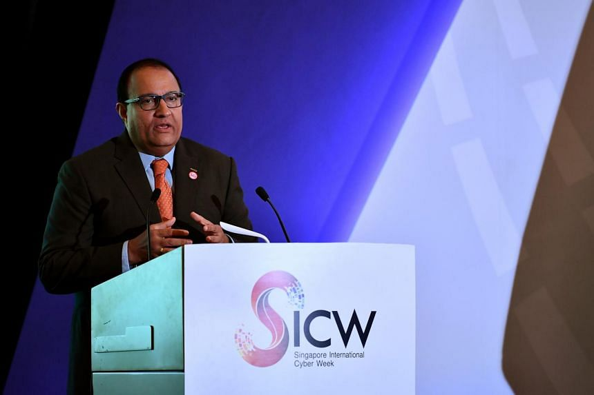 Minister for Communications and Information S. Iswaran at the fourth Asean Ministerial Conference on Cybersecurity at the Shangri-La Hotel on Oct 2, 2019.