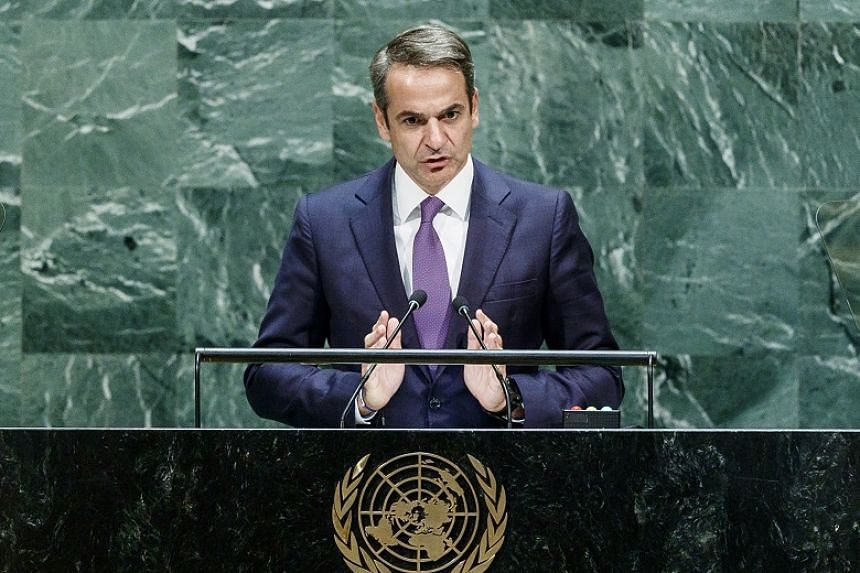 Greek Prime Minister Kyriakos Mitsotakis speaking at the United Nations on Sept 27, 2019. His government plans to change some rules on the calling of strikes in the country.
