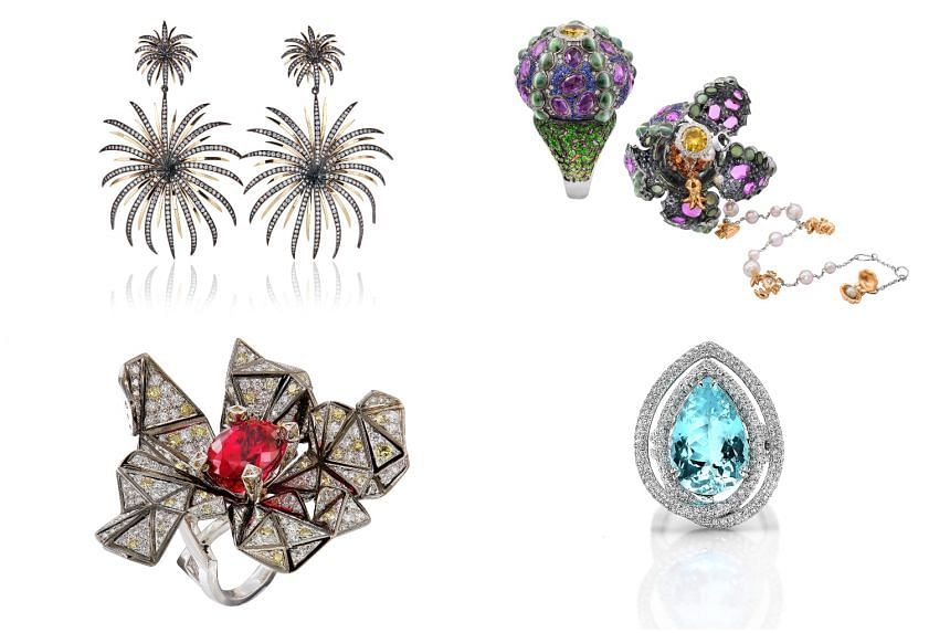(Clockwise from top left) The Faraone Mennella earrings, Alessio Boschi sea urchin ring, Paolo Costagli Paraiba ring and Caratell origami ring.
