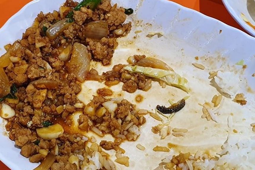 Mr Bhavesh Gumani told The Straits Times he was having dinner at the Thai food stall at the Block 208B New Upper Changi Road hawker centre last Tuesday (Sept 24) when he discovered an insect in his basil chicken dish.