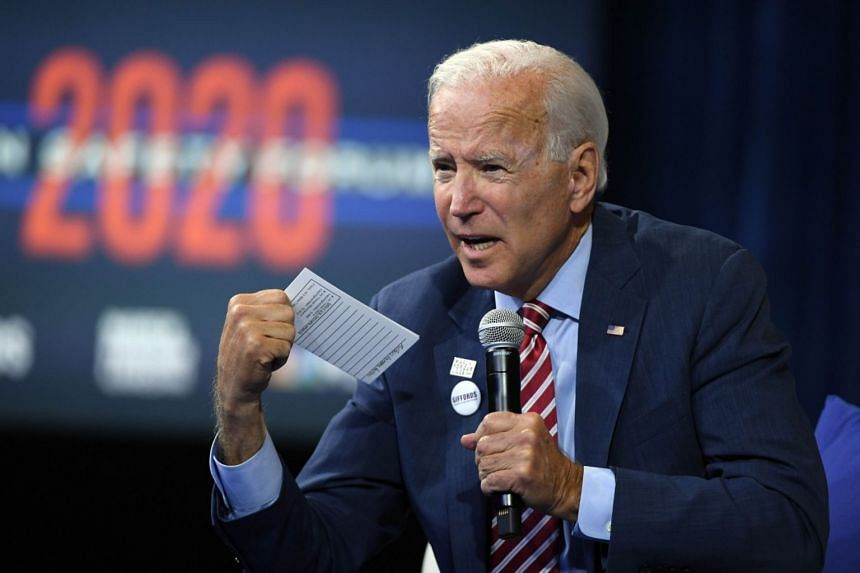 Leading Democratic contender in the 2020 race for the White House Joe Biden (pictured) accused President Donald Trump of abuse of power.