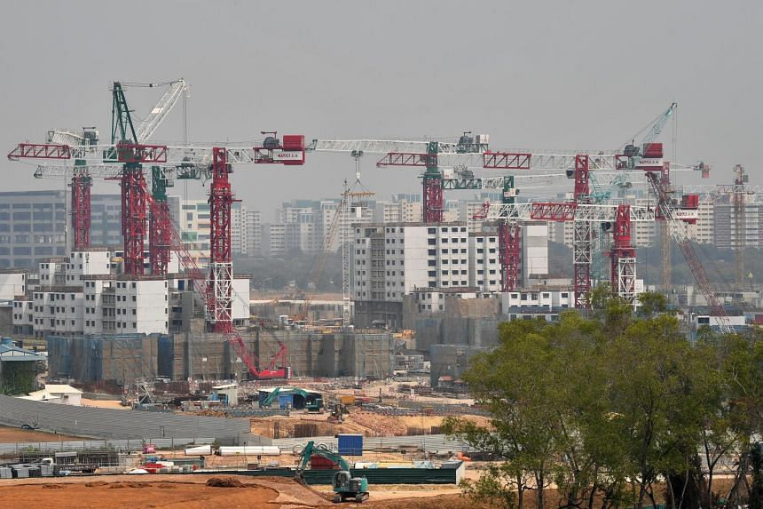 A construction site viewed from Sun Plaza Park in Tampines, on Sept 13, 2019.