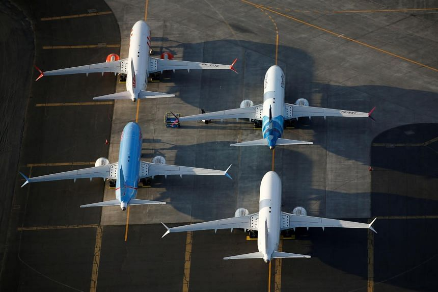 An aerial photo shows Boeing 737 Max aircraft at Boeing facilities at the Grant County International Airport in Moses Lake, on Sept 16, 2019.