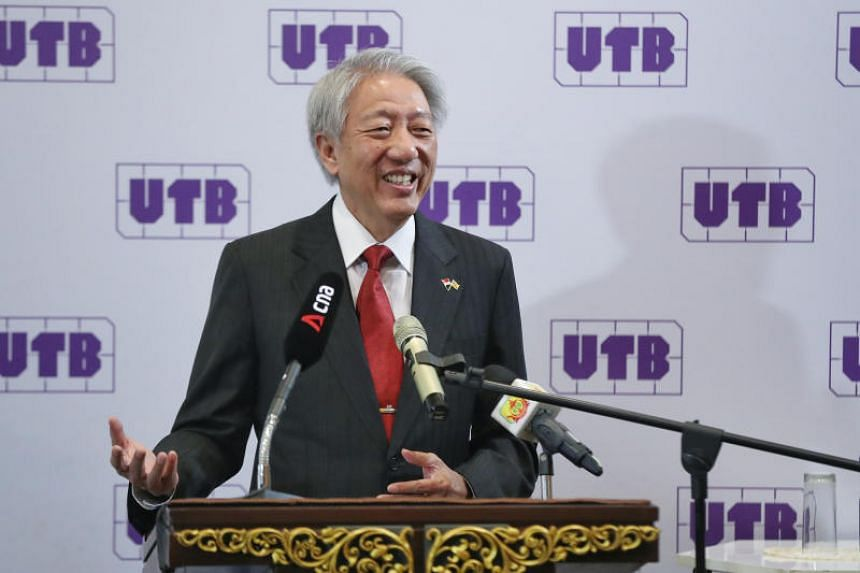 Senior Minister Teo Chee Hean delivering a speech to students at Universiti Teknologi Brunei on Oct 3, 2019.
