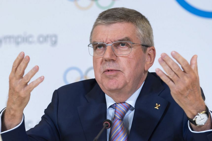 IOC president Thomas Bach speaks during a press conference in Lausanne, Switzerland.