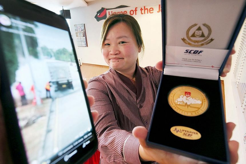 Bus captain Thian Siew Mui received an SCDF Community Lifesaver Award after her action - which prevented the lorry fire from escalating - caught the attention of the Singapore Road Safety Council and the Singapore Civil Defence Force.