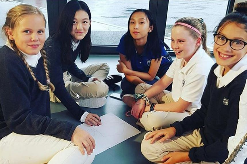 Faye Wong's daughter Li Yan (second from left) with her schoolmates at Switzerland's College Alpin Beau Soleil.