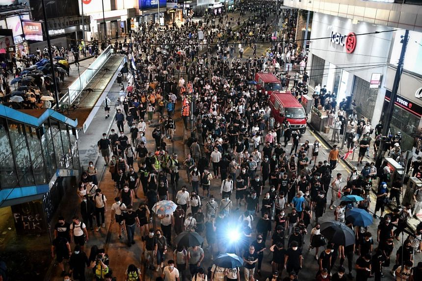 Protesters in Causeway Bay in Hong Kong on Oct 4, 2019.