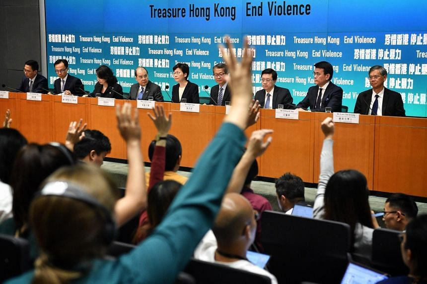 Hong Kong Chief Executive Carrie Lam taking questions from the floor at a press conference on Oct 4, 2019.