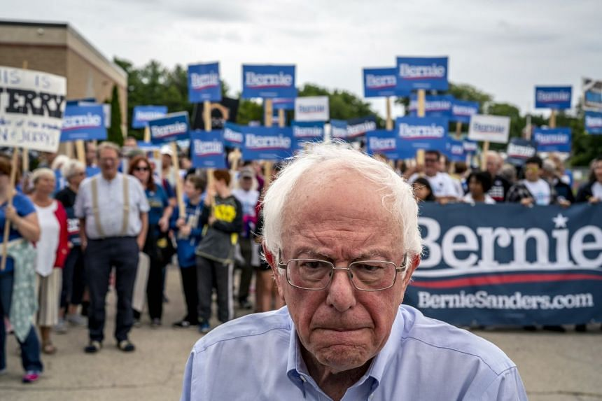 Sanders campaigning in Milford, New Hampshire on Sept 2, 2019.