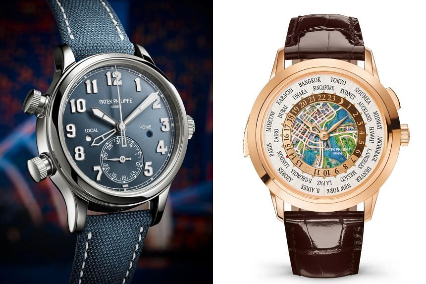 Left: REF 7234A-001 CALATRAVA PILOT TRAVEL TIME. Right: REF 5531R-010 WORLD TIME MINUTE REPEATER