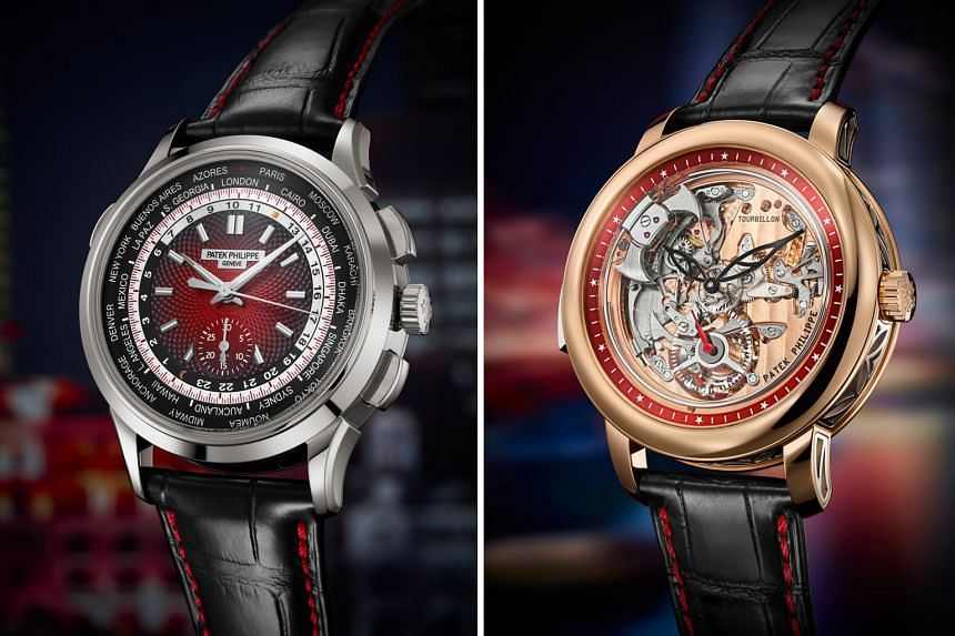 Left: REF 5930G-011 WORLD TIME CHRONOGRAPH. Right: REF 5303-010 MINUTE REPEATER TOURBILLON.
