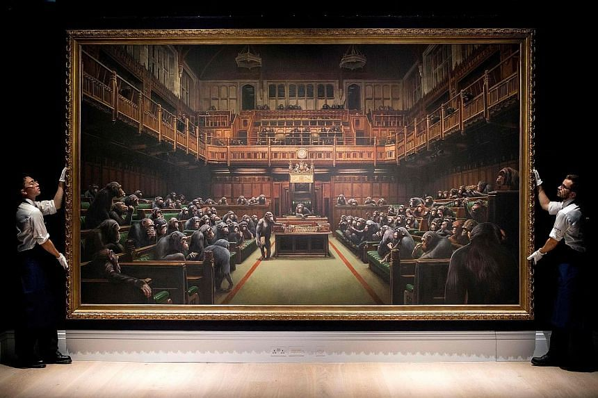 The 2009 oil painting titled Devolved Parliament measures 4.2m by 2.5m unframed.