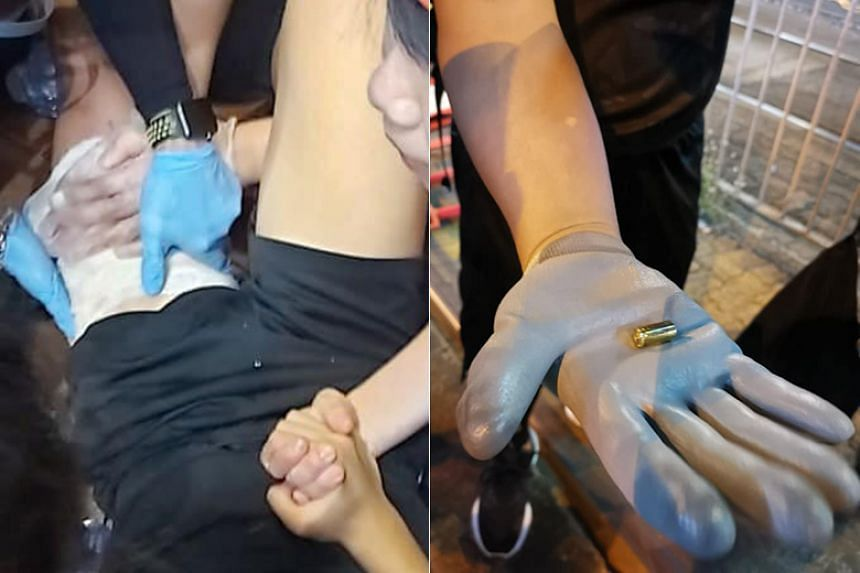 A 14-year-old was shot in the thigh in Yuen Long in a confrontation with the police, who fired multiple rounds of tear gas throughout the night to dispel the crowds.