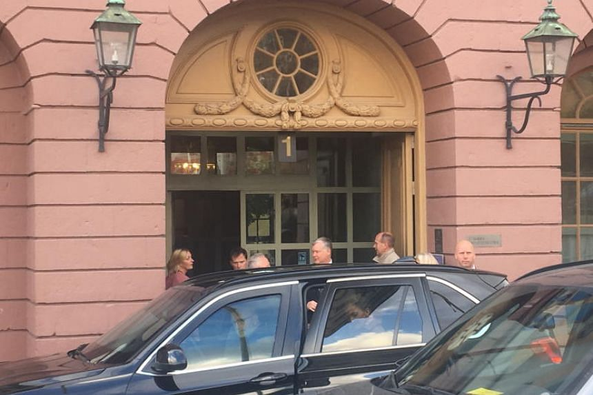 Top US nuclear envoy Stephen Biegun (centre) leaves Sweden's foreign ministry building in Stockholm on Oct 4, 2019. He is part of the teams at talks between North Korean and US officials in Stockholm.