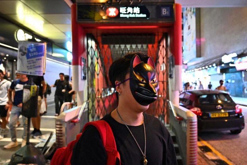 A protester takes part in a flash mob rally in Hong Kong's Mongkok district on Oct 5, 2019.