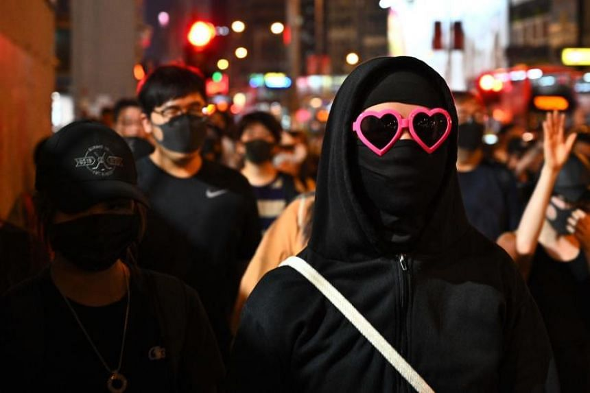 Protesters in a flash mob rally in Hong Kong's Sham Shui Po district on Oct 5, 2019.