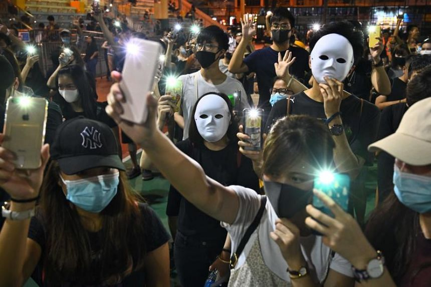 Protesters during a flash mob rally in Hong Kong's Sham Shui Po district on Oct 5, 2019.