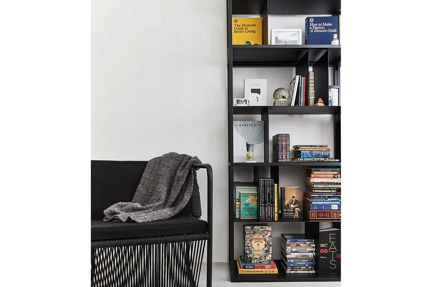 Each home owner has a bookshelf to display his or her collection of personal knick-knacks.