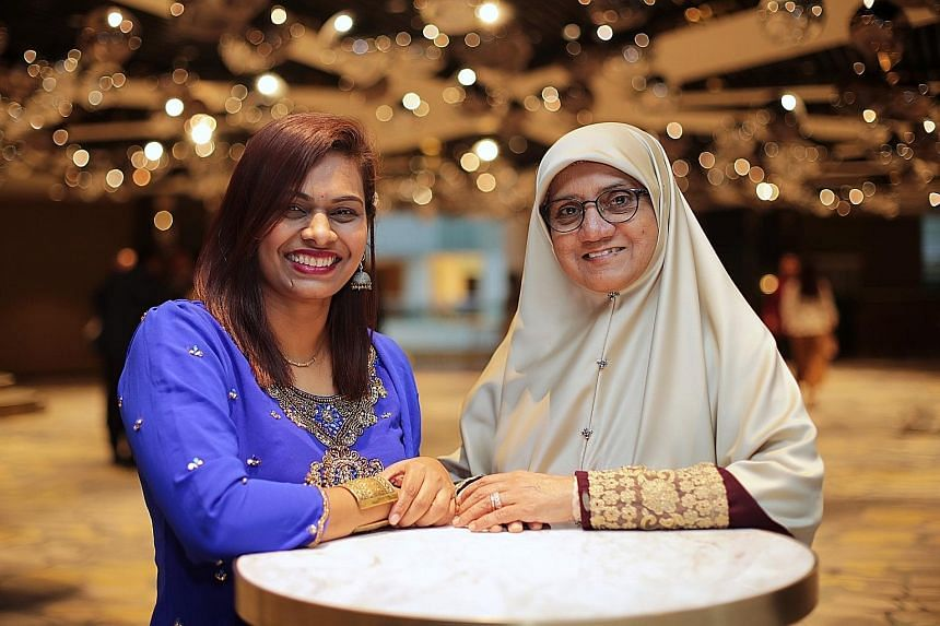 Pre-school teacher Peria Nayakhi Manivasagam (left) won Jamiyah Singapore's Exemplary Young Mother Award, while Madam Jamalia Shariff won the Exemplary Mother Award. Both have three children each.