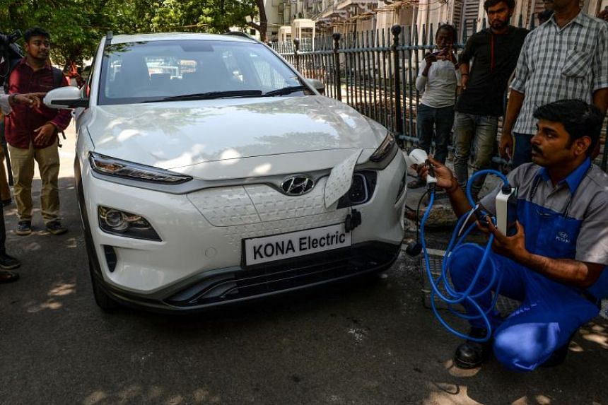 A technician giving a briefing at the launch of Hyundai's Kona SUV at the Secretariat Park in Chennai, on July 24, 2019.