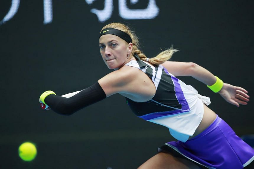 Petra Kvitova in action during the women's singles quarter-final match at the China Open Tennis tournament in Beijing on Oct 4, 2019.