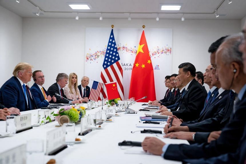 29 2019 US President Donald Trump Acting Chief of Staff Mick Mulvaney then National Security Adviser John Bolton Ms Ivanka Trump and others during a bilateral meeting with Chinese President Xi Jinping (centre