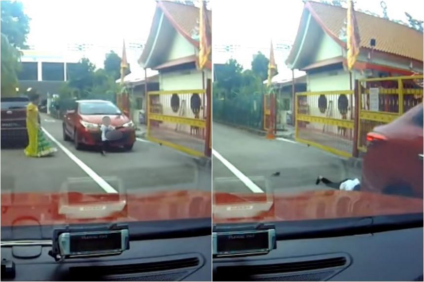 As seen in a video of the accident, as the boy runs into the road's second lane, an oncoming car hits him and knocks the boy off his feet.
