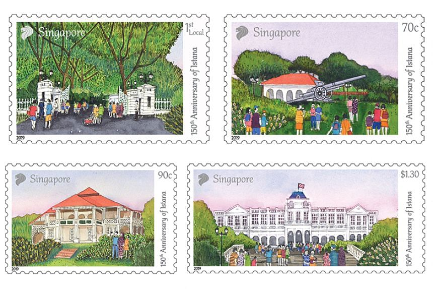 The stamp series was designed by Singapore sketch artist Francis Theo and unlike other stamps showcasing well-known architecture, the Istana set features people in the design.