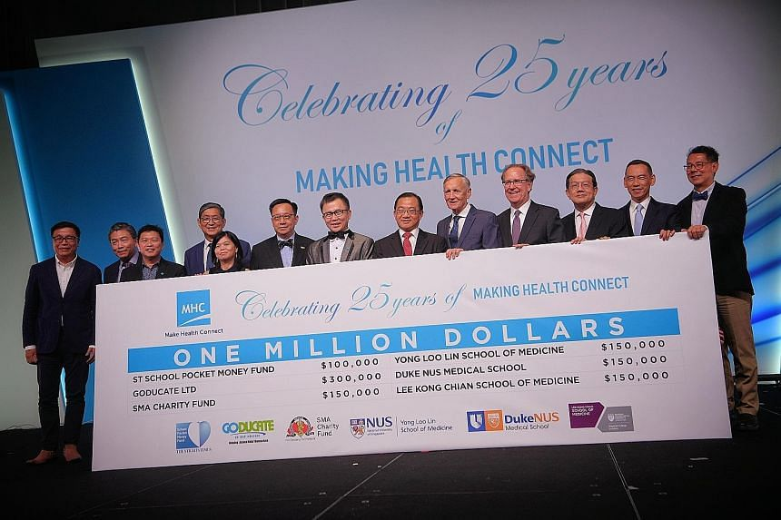 Medical benefits administrator and health technology business MHC Asia Group yesterday donated $1 million in total during its 25th anniversary celebrations. The sum includes $100,000 for The Straits Times School Pocket Money Fund, which provides pock
